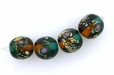 4  13.5mm Round Black Brown Blue Green Yellow Red Flower Bead Glass Lampwork #85