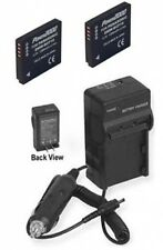 TWO 2 Batteries + Charger for Panasonic DMCFS7EBS DMC-FS7PC DMC-FS8 DMC-FS8P