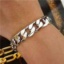 "9"" 10mm 18K White Gold Plated Stoneless BLgiftshop Bracelet, Men Birthday Gift"