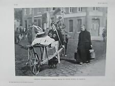 1918 WW1 WWI PRINT ~ FRENCH INHABITANTS COMING BACK TO THEIR HOMES IN MARETZ
