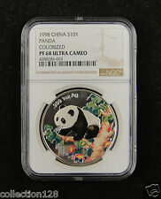 CHINA Silver Coin 10 Yuan 1998, Colorized, Panda, NGC PF 68