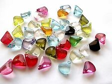 50pcs 16mm x 13mm Top Drilled Faceted Flat Charm Teardrop Acrylic Beads ASSORTED