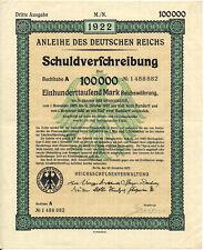 Germany Deutsches Reich bond loan 100.000 marks 20.12.1922 uncancelled