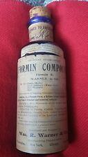 VINTAGE WMR WARNER CO.COBALT BLUE FORMIN COMPOUND CURE BOTTLE 1906 UNOPENED