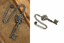 Steampunk Large Antique Look Key Gear Necklace Costume Accessory fnt