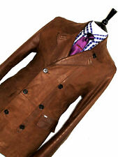 LUXURY MENS TED BAKER LONDON ANTIQUE BROWN LEATHER MOD PEACOAT JACKET COAT 42R