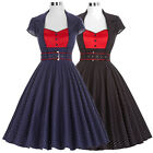BP Cap Sleeve Satin Ball Gown Cocktail Retro Vintage Formal Evening Party Dress