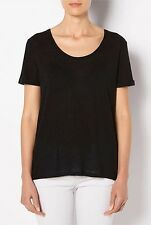 WITCHERY sz M (or 12 )  womens black woven Petal back Tee - top