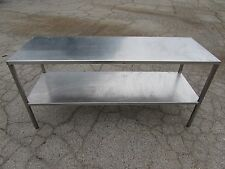 "STAINLESS STEEL KITCHEN PREP TABLE 6'X2'X2'11"" 72"" X 24"" X 35"" 2-TIER ***XLNT***"