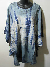 Top Fits 1X 2X 3X 4X PLUS Blue Gray Tie Dye Poncho Caftan Long Tunic NWT G031