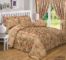 KING SIZE LUXURY GOLD JAQUARD ROSE TRADITIONAL ANASTASIA DUVET COVER BED SET