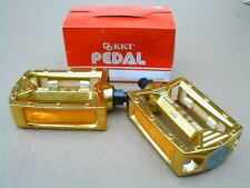 "NOS BMX KKT AMX PEDALS GOLD 1/2"" OLD SCHOOL ALLOY"