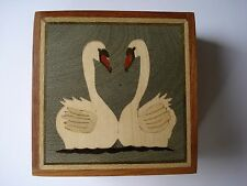 HAND CRAFTED ROSE WOODEN INLAID MARQUETRY PUZZLE GIFT BOX - COURTING SWANS