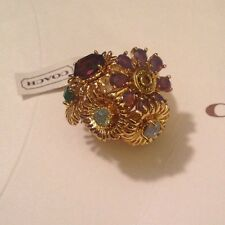 Coach Ring Tony Duquette Bouquet Flower Ring 95913 Goldtone Crystal NWT