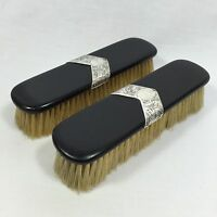 1919 EBONY & SILVER CLOTHES BRUSH SET VINTAGE VANITY DRESSING TABLE ANTIQUE WOOD
