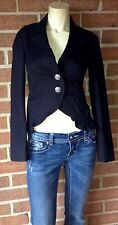 JUICY COUTURE Cropped Ruffle Trim Military Jacket Black Petite PP