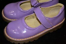 Girls Youth US 2 Dr Doc Martens Kids Mary Jane Purple Patent Leather Velcro Shoe