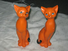 A Vintage pair of 70's Retro Kitsch Very Tall Orange Cat Salt & Pepper Shakers