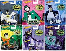 2015 SET OF 6 BATMAN CLASSIC TV SERIES RETRO HOT WHEELS!! CATWOMAN,JOKER,PENGUIN