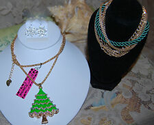 BETSEY JOHNSON GORGEOUS 3 PC CHRISTMAS TREE NECKLACE EARRINGS & BRACELET NEW