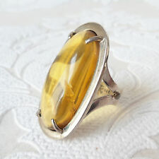 Honey Amber Solid .925 Sterling Silver Ring US Size 9 Natural Gemstone Chiapas