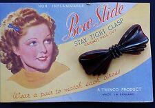 Vintage Hair Barrettes - Dark Burgundy Color (almost black) Bow Slide Barrette