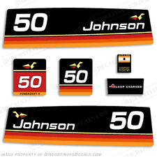 Johnson 1974 50hp Outboard Decal Kit - Discontinued Decal Reproductions in Stock