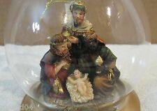 Three Kings & Baby Jesus Figural Nativity Ornament In Glass Dome On Copper Base