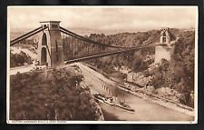 C1940s View of a steam boat passing under Clifton Suspension Bridge