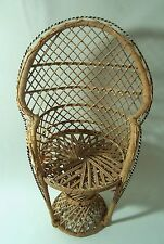 "Doll Chair Furniture Wide Rattan Wicker Peacock Chairs 16"" Tall Width 10"" Sturdy"