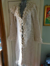 NEW FULL LENGTH 80's SHAGGY COLLAR HEAVY KNITTED WOOL BEIGE COAT MEDIUM MONSOON