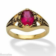 WOMENS ANTIQUED 14K GOLD BIRTHSTONE JULY RUBY RING  5 6 7 8 9 10 FREE SHIPPING