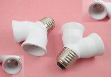 E27 Screw Base Light Lamp Bulb Socket LED Halogen 1 to 2 Split Splitter Adapter