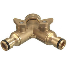 """3/4"""" 2 WAY SOLID BRASS GARDEN TAP ADAPTOR  DOUBLE OUTSIDE & HOSE CONNECTORS AU"""