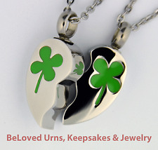 Twin Four Leaf Clover Heart Cremation Jewelry Keepsake Urns With Two Necklaces