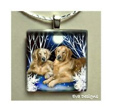 GOLDEN RETRIEVER DOGS ART JEWERLY 1 INCH GLASS TILE PENDANT NECKLACE WITH CHAIN