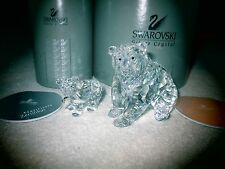 Swarovski Crystal GRIZZLY Bear & CUB Figurines BNIB's COA's Retired MSR. $405.00