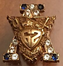 1962 USMA West Point Academy Badge Pin w Sapphires 6.3 Grams