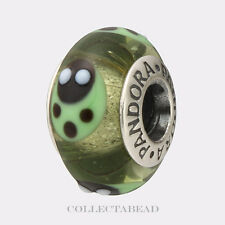 Authentic Pandora Silver Murano Green Ladybugs Bead 790653   RETIRED