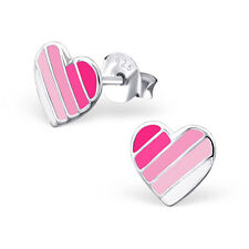 925 Sterling Silver Pink White Hearts Kids Girls Stud Earrings  Party Gift