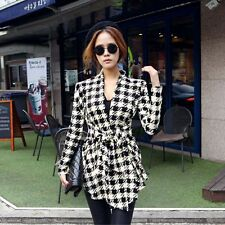 New Korean Womens Houndstooth Pattern Thin Cardigan Coat Jacket Outwear M S1