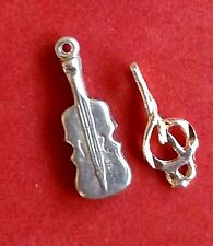 VINTAGE TWO MINI BRACELET CHARMS STERLING SILVER MUSIC CLEF AND VIOLIN/CELLO G51