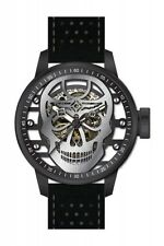 Invicta S1 Rally Mechanical Transparent Silver Skull Dial Black Leather Mens