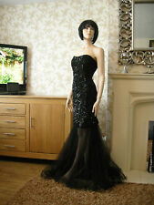18 FOREVER UNIQUE MERCURY BLACK SEQUIN DRESS DETACHED TULLE FISHTAIL BANDEAU