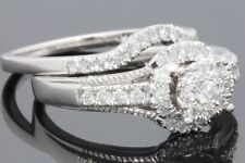 10K WHITE GOLD .75 CARAT WOMENS REAL DIAMOND ENGAGEMENT RING WEDDING BAND SET