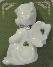 IRELAND FINE PORCELIN FAIRY SITTING WITH SHAMROCK HANGING ORNAMENT