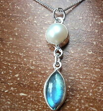 Freshwater Pearl and Labradorite Marquise Pendant 925 Sterling Silver New