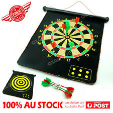 "17"" Magnetic Rollup Dart Board w/ 6 Darts Large Double Side Dartboard Game SET"