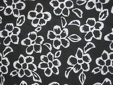 "Cotton Fabric BLACK & WHITE TROPICAL FLOWER Print 45"" Wide x 6½ Yards"