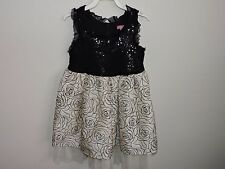 Le Pink Girls Dress Size 5 Black White Roses Tulle Sequins Fancy Party Layered